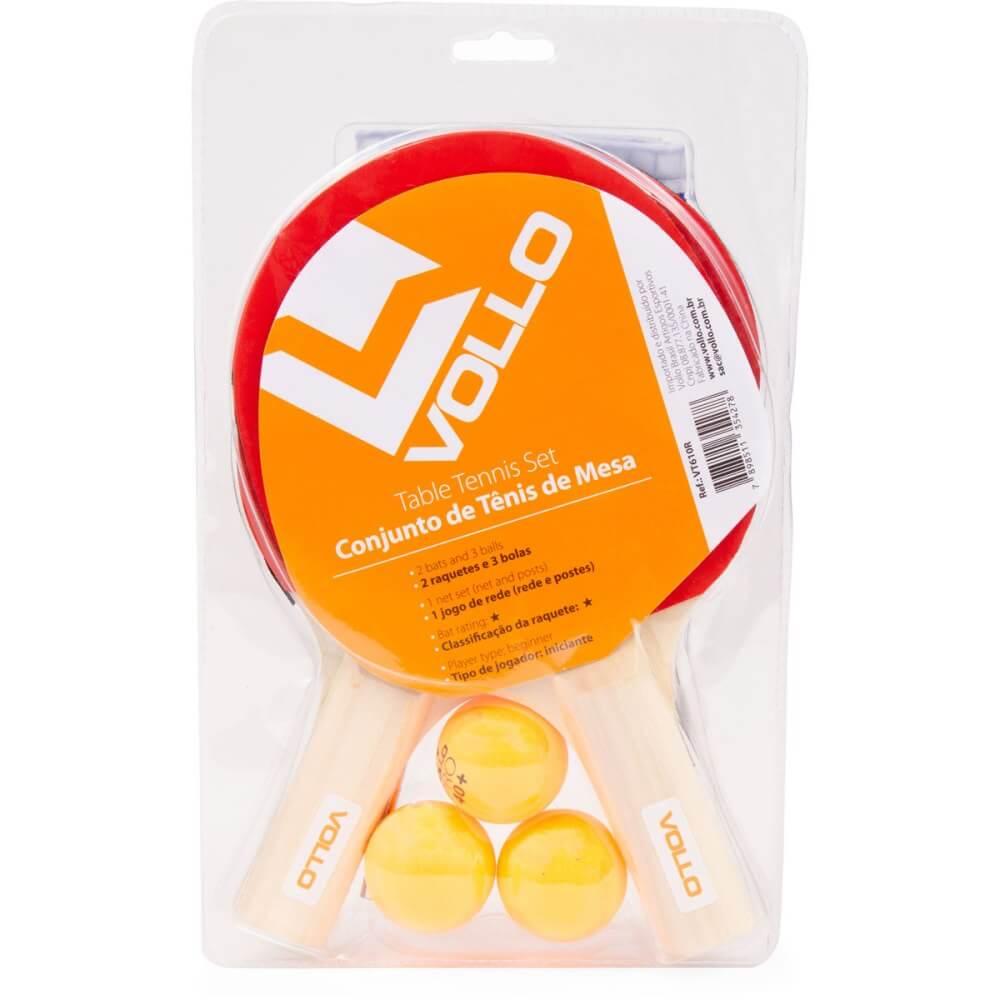 Kit Ping Pong e Tênis de mesa Vollo 2 Raquetes e 3 bolas e Rede VT610-R