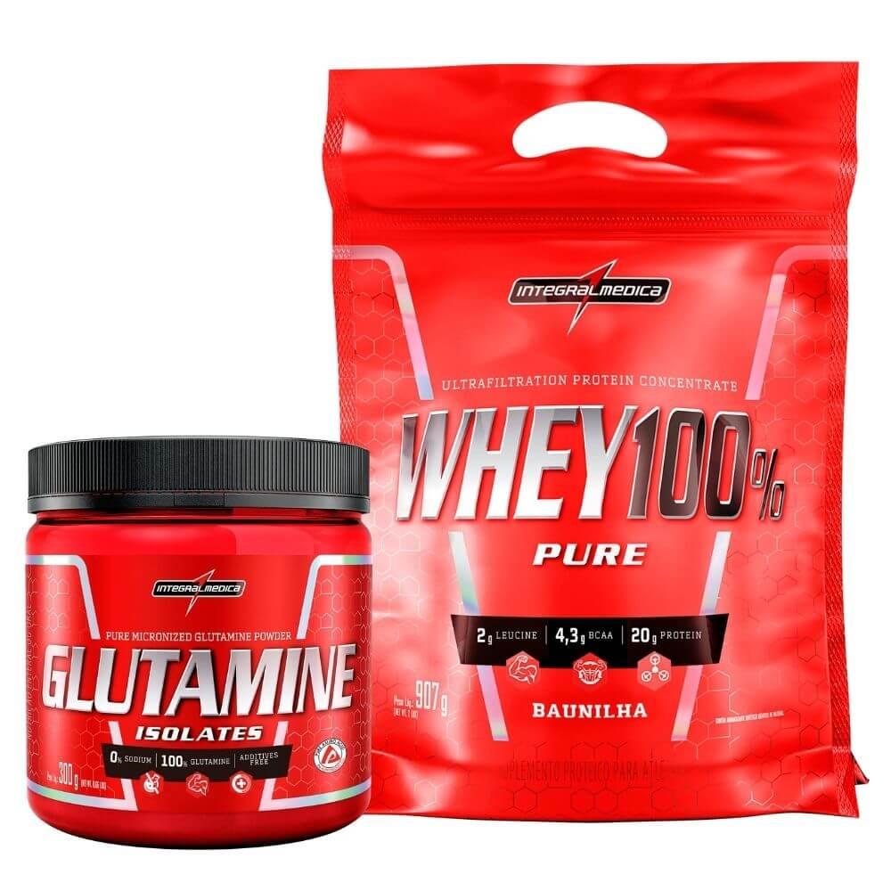 Kit Whey 100 Pure Baunilha 907g  e Glutamina 300g Integralmedica