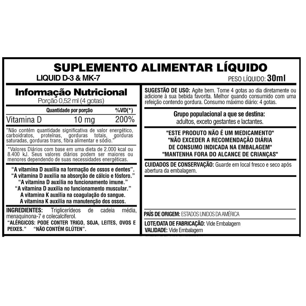 Liquid D-3 e Mk-7 gotas 30ml Now Foods