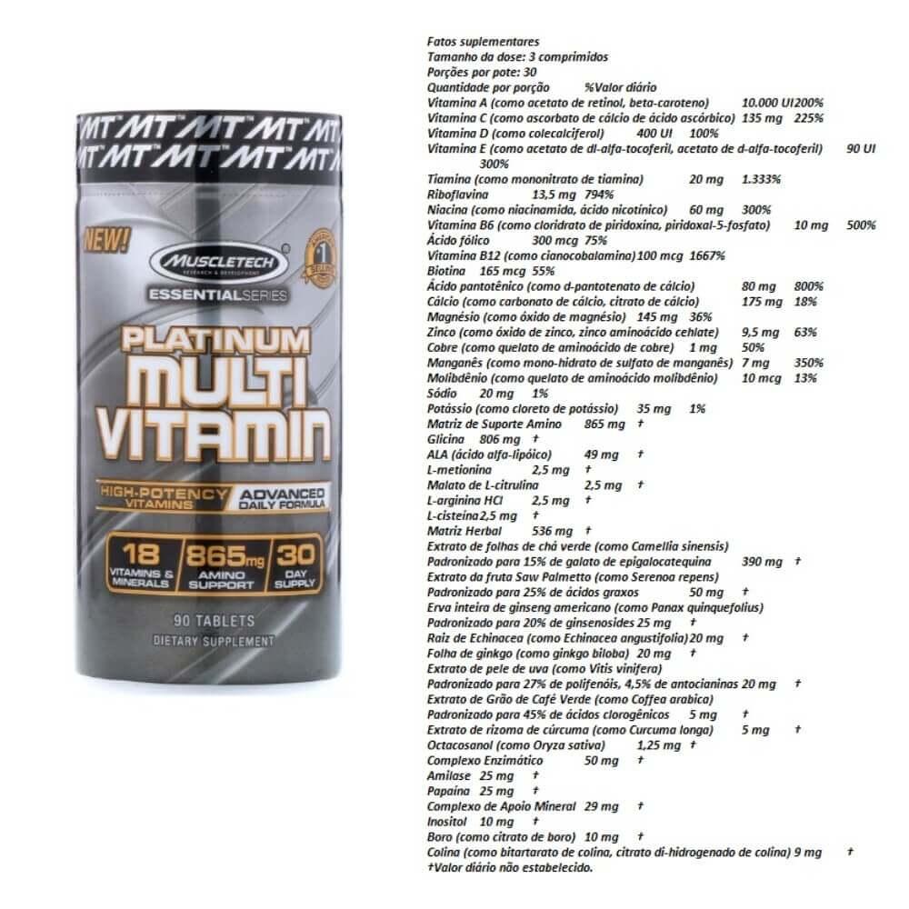 Multivitamínico Platinum Muscletech 90 Caps