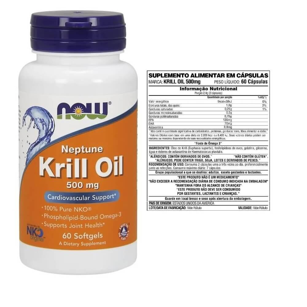 Óleo de Krill Neptune 500mg 60 softgels Now Foods - NKO