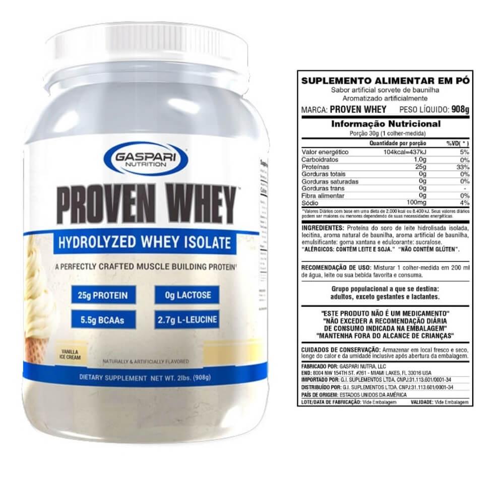 Proven Whey 908g Baunilha - Isolada e Hidrolizada - Gaspari Nutrition
