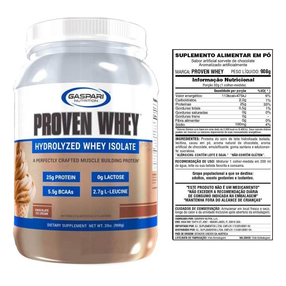 Proven Whey 908g Chocolate - Isolada e Hidrolizada - Gaspari Nutrition