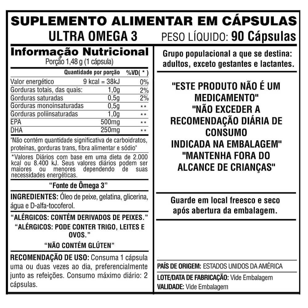 Ultra Omega 3 Now Foods 500EPA  250DHA 90 cápsulas
