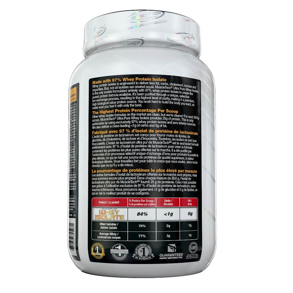 Ultra Pure Whey Isolate Muscletech 907g sabor Chocolate