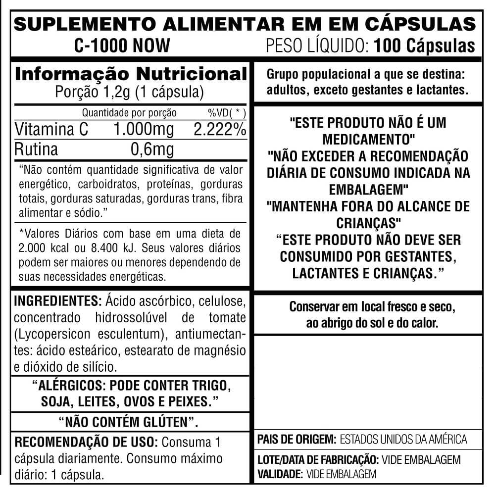 Vitamina C 1000 Now Foods 100 cápsulas