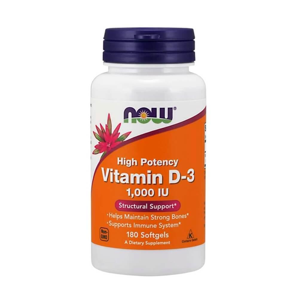 Vitamina D3 1000 IU 180 sofgels Now Foods