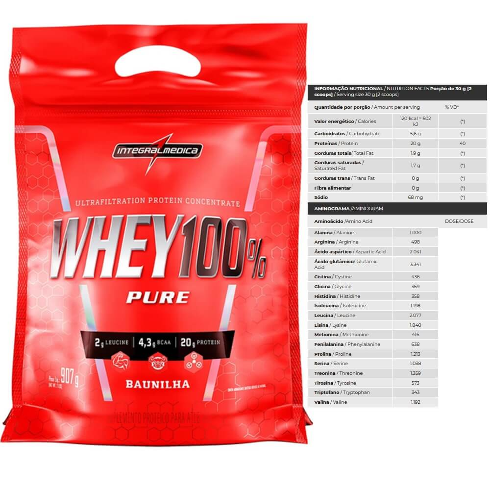 Whey 100 Pure refil 907g Integralmedica Baunilha