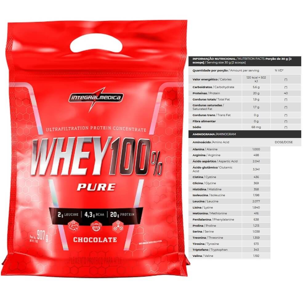 Whey 100 Pure refil 907g Integralmedica  Chocolate