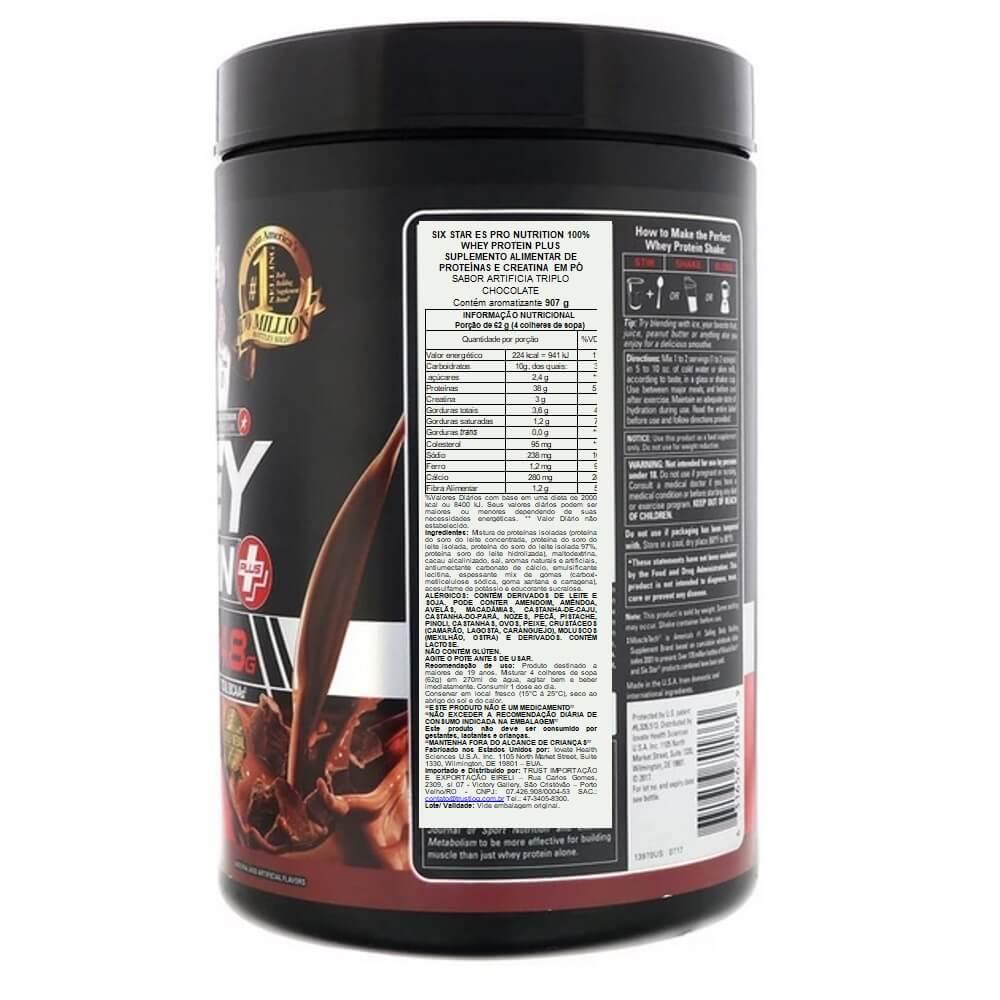 Whey Protein Six Star 907g Sabor Tripo chocolate