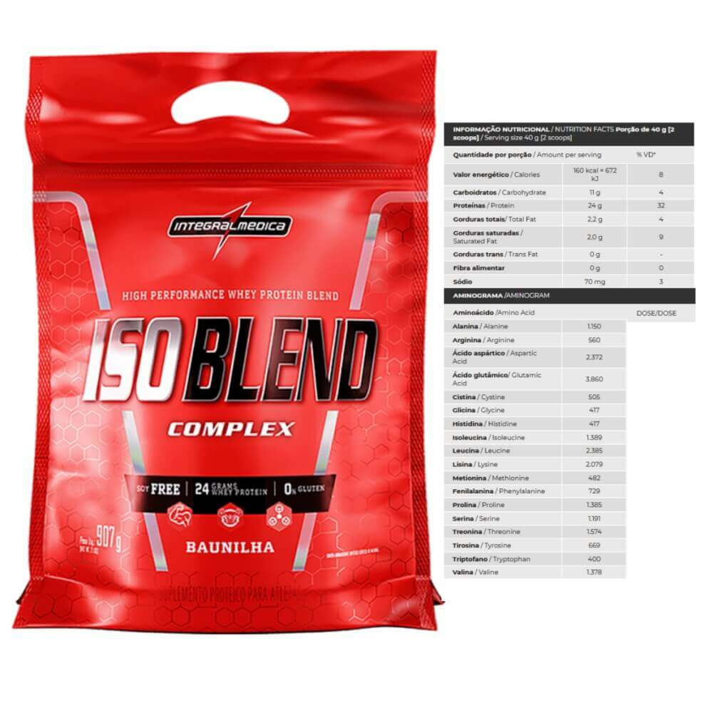 Whey Protein Iso Blend 907g Integralmedica Sabor Baunilha