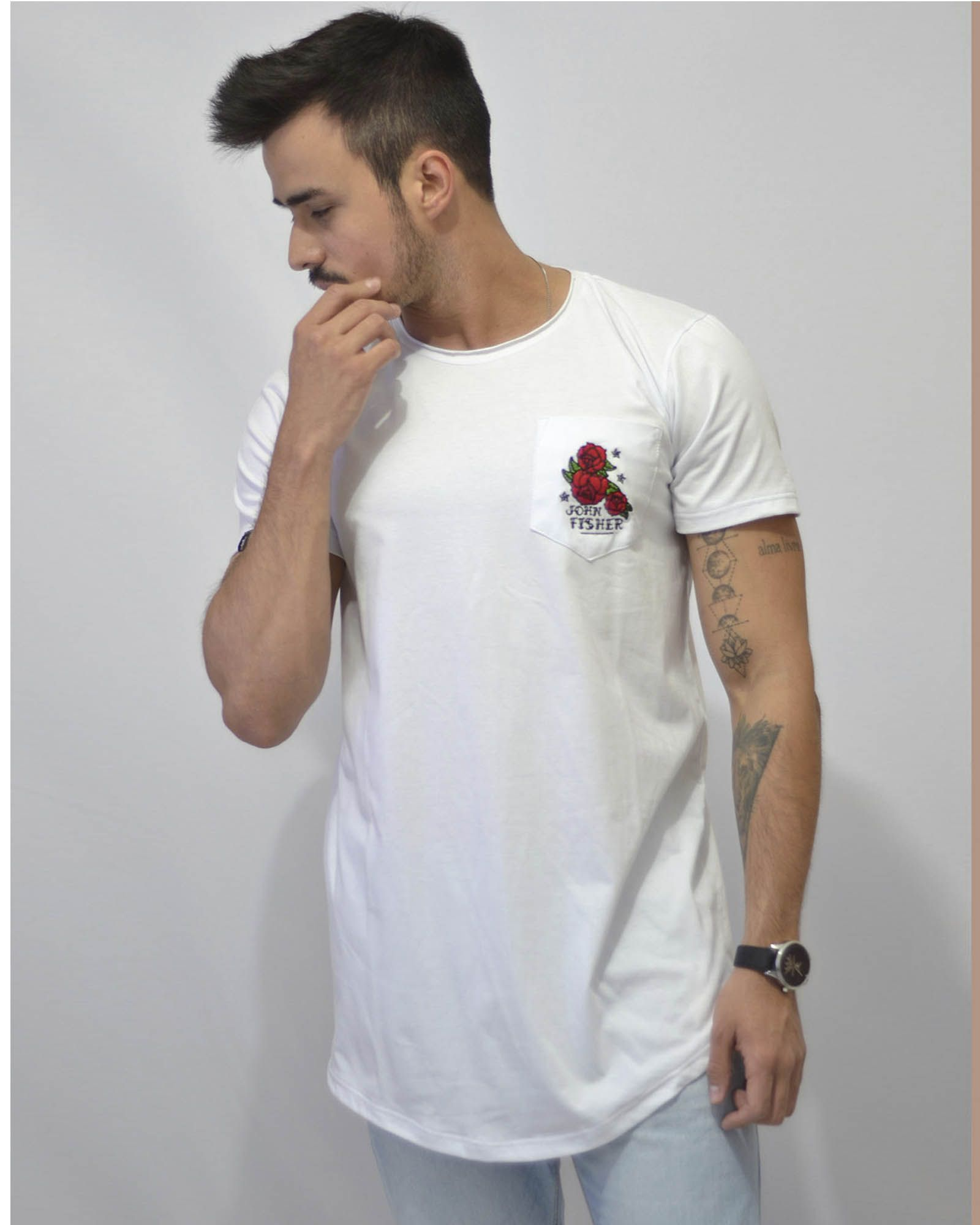 Long T-Shirt Roses Pocket