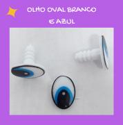 Olho oval branco e azul (3 pares)