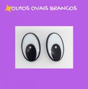 Olhos ovais brancos com travas (3 pares)