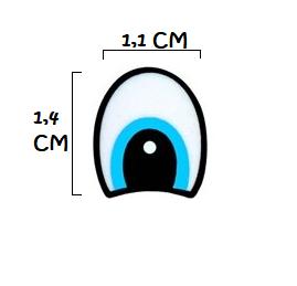 Olho branco e azul meia lua (3 pares)  - AmiMundi