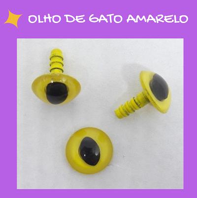Olhos de gato com travas - Amarelo (5 pares)  - AmiMundi
