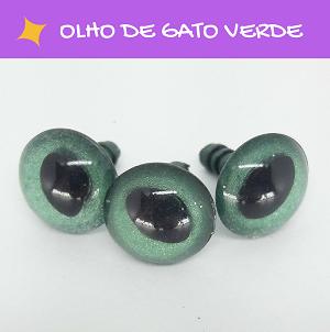 Olhos de gato com travas - Verde (5 pares)  - AmiMundi