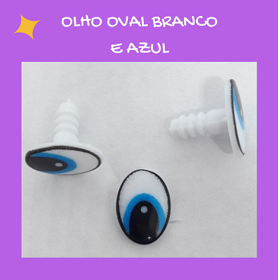 Olhos ovais branco e azul  - AmiMundi