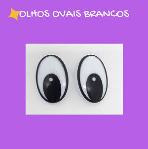Olhos ovais brancos com travas (3 pares)   - AmiMundi
