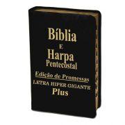 Biblia | letra Hiper Gigante | Luxo Preta | Harpa | Edição Promessas