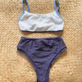 Biquíni Cintura Alta Azul c/ Branco Sunny