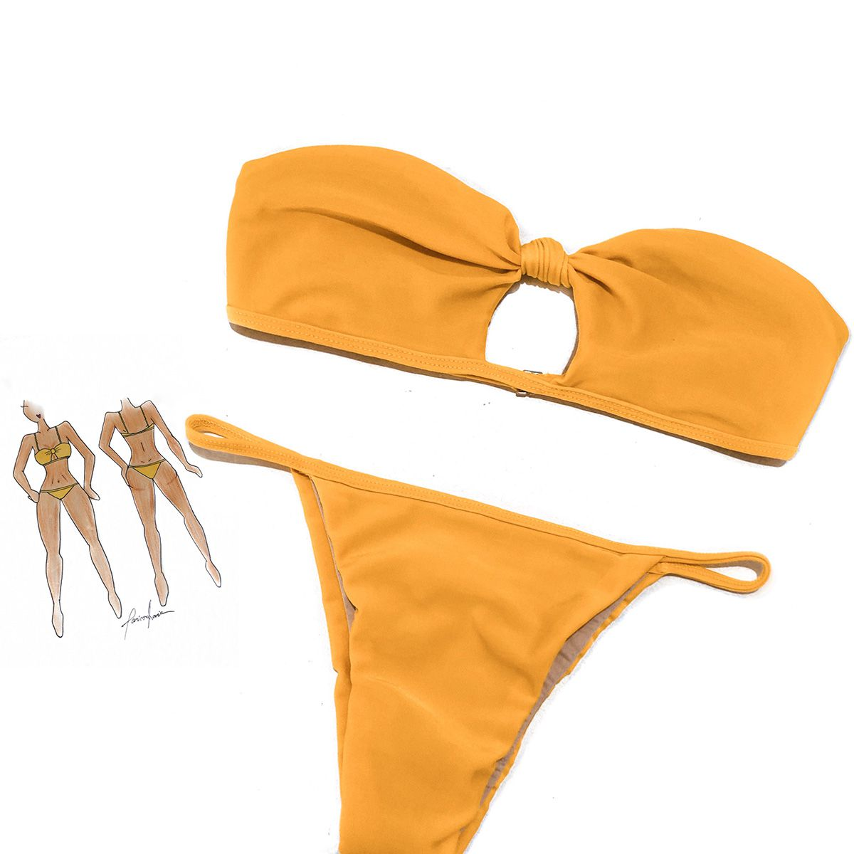 Biquíni Alça Removível Versátil Amarelo Simone