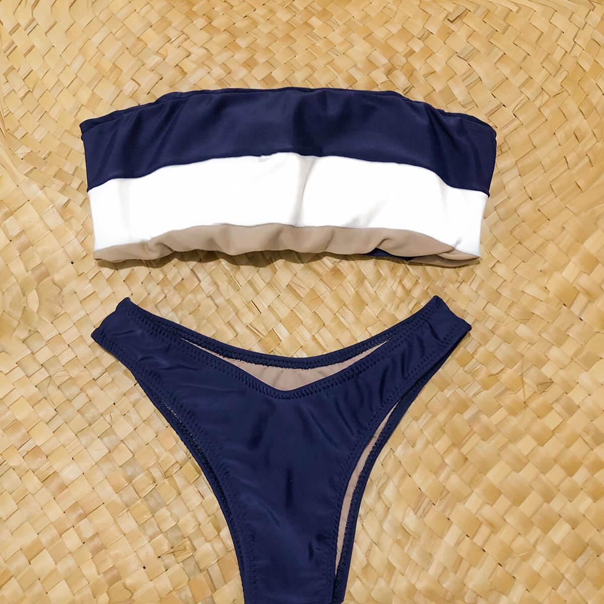 Biquíni Asa Delta Azul com Nude Versátil Roxy Revolution