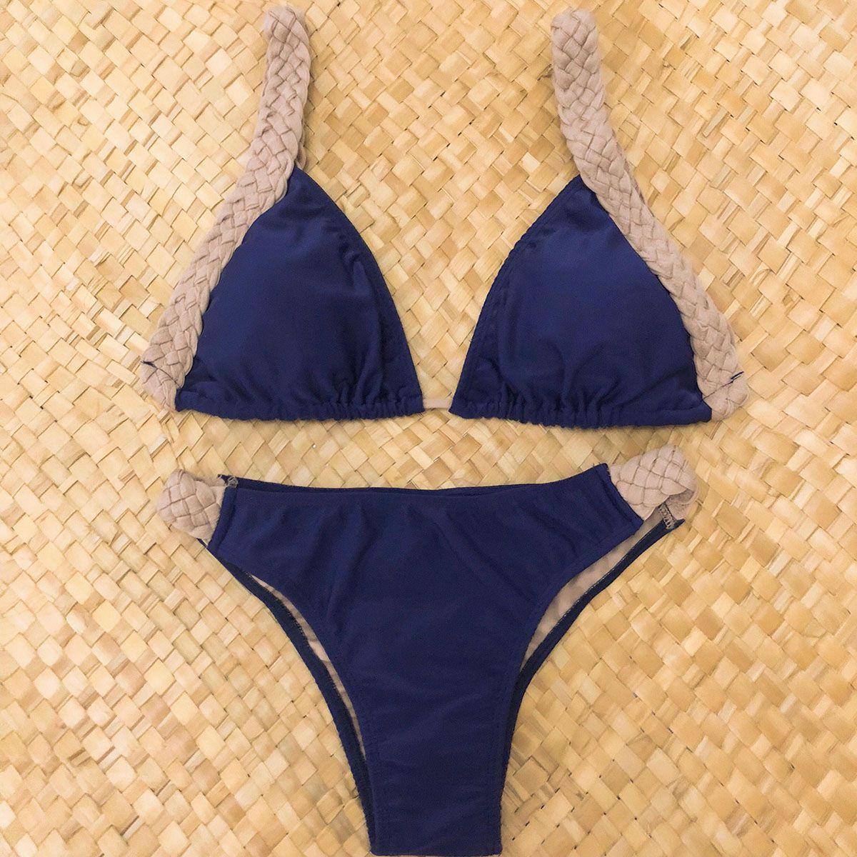 Biquíni Cortininha Azul Marinho Trançado Glam