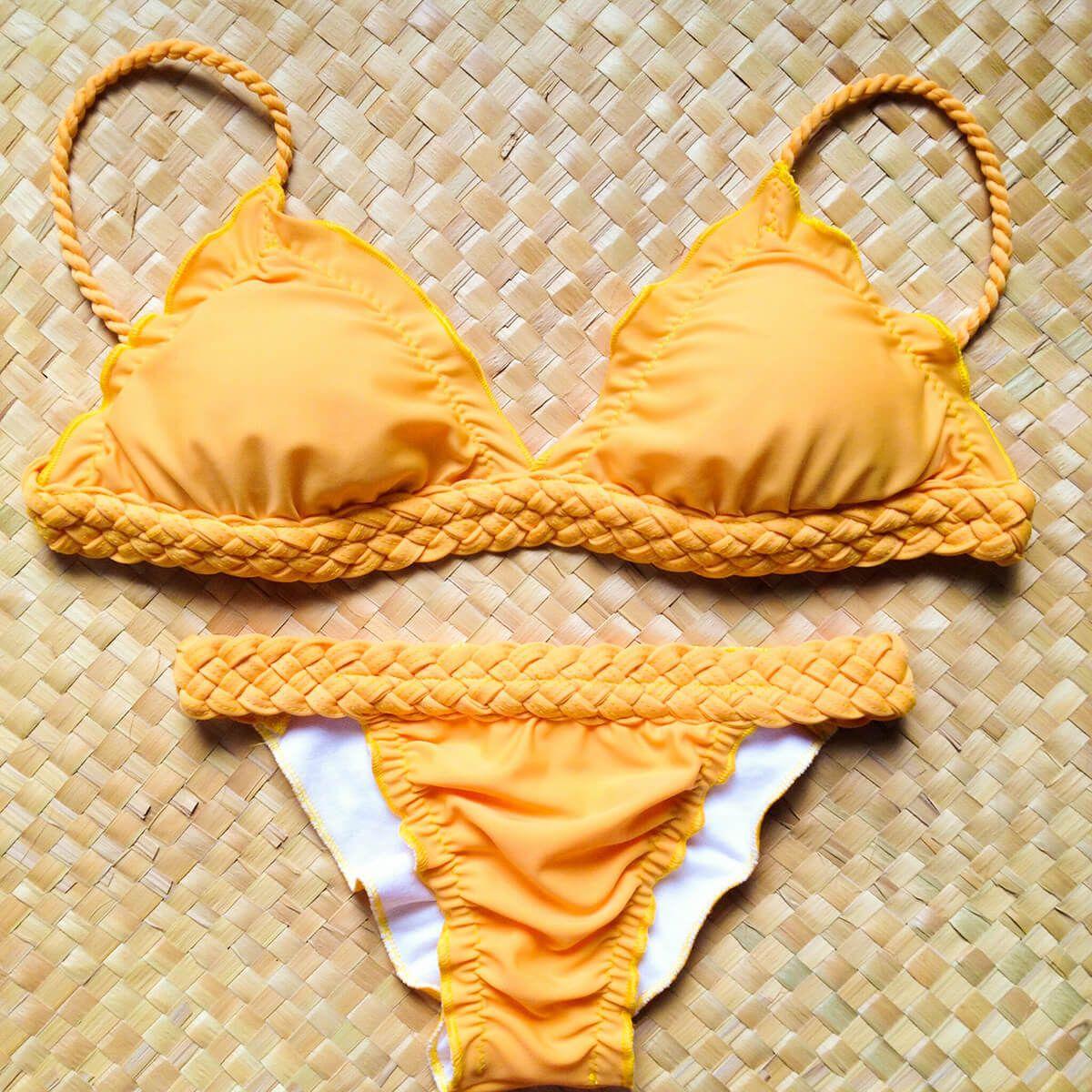 Biquíni Levanta Bumbum Amarelo Braid