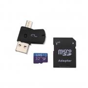 Adaptador Multilaser 4x1 Dual Drive Cartão Celular Usb 32GB - MC151