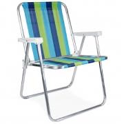 Cadeira De Praia Alta De Alumínio Mor Adulto - Cores Sortidas