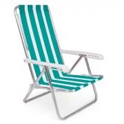 Cadeira De Praia Mor Reclinável 8 Posições De Alumínio