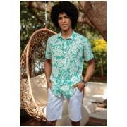 Camisa Social Despojada Manga Curta Floral Estampada Masculino Ad 20523