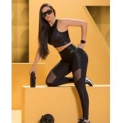 Conjunto Fitnes Nega Rosa Carol Luxo Feminino Adulto