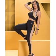 Conjunto Fitness Nega Rosa Angela Luxo Feminino Adulto