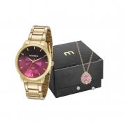 Relógio Feminino Mondaine Dourado Com Colar De Brinde 53606