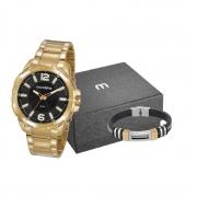 Relógio Mondaine Feixo Metal Dourado + Brinde Masculino Adulto Ref 53791/53829