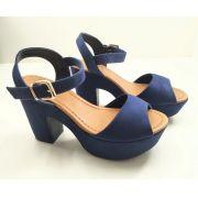 Sandália Bebecê Salto 8cm Grosso Confort Azul Blue 5123-826