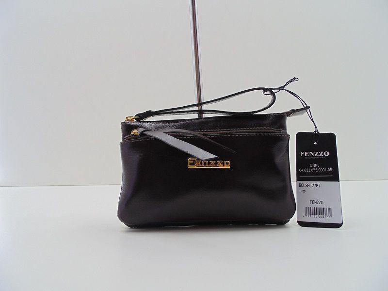 Bolsa Fenzzo Feminina Em Couro Marrom Escuro 2787