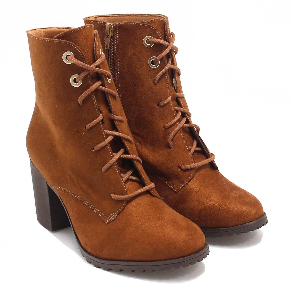 Bota Bebecê Feminina Anklew Boots Salto Courino