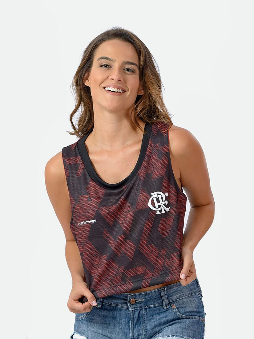 Camiseta Braziline Flamengo Corpped Feminino Adulto
