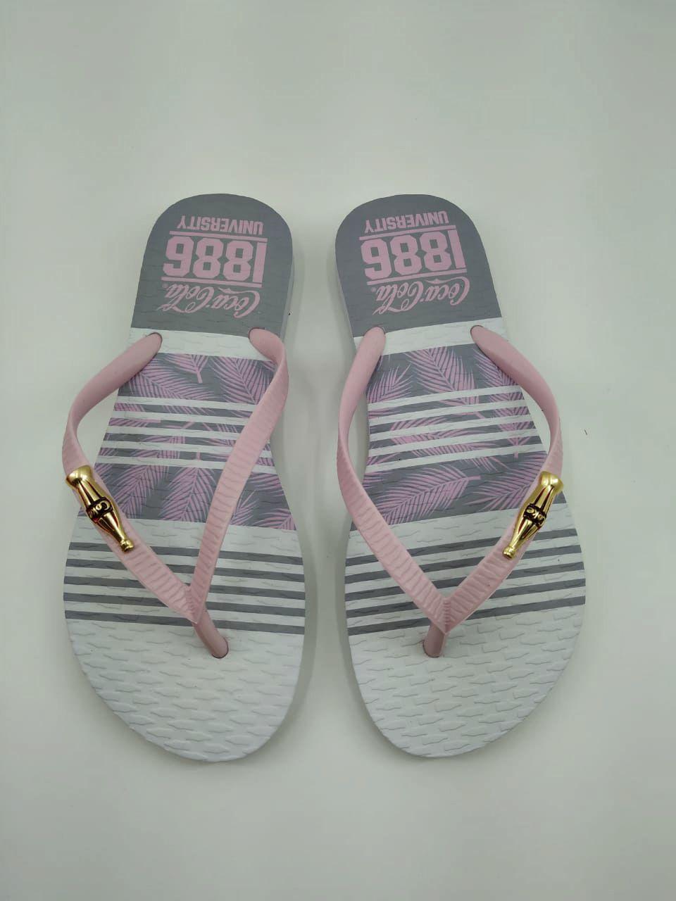 Chinelo Coca Cola Shoes Feminino Adulto Chevron Flowers CC2653