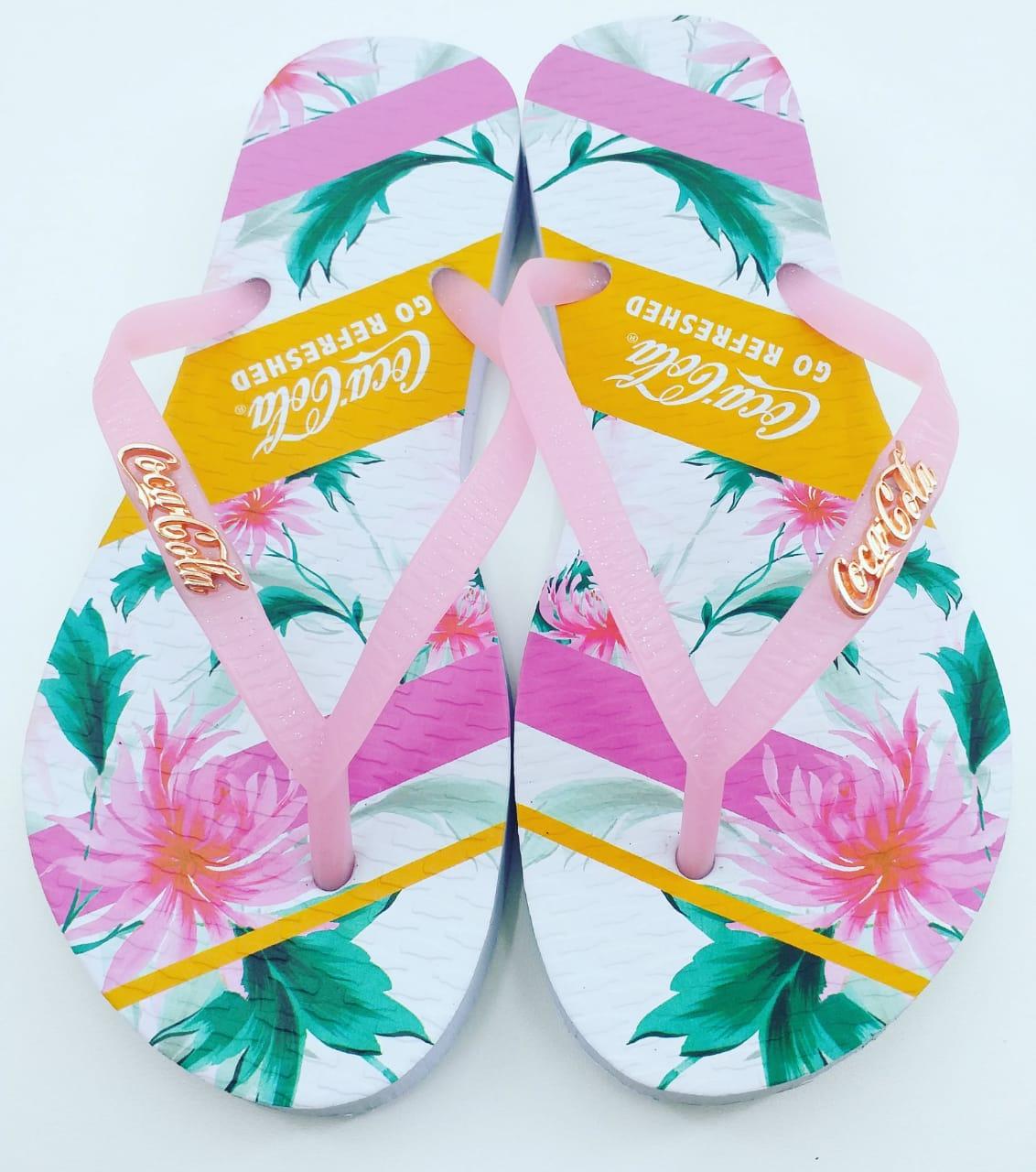Chinelo Coca Cola Shoes Flower Bands CC2888 Feminino Adulto