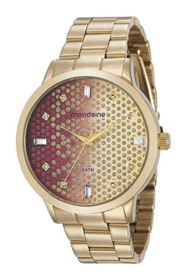 Relógio Mondaine Pulso Feminino Adulto + Pulseira Brinde Dourado 83429