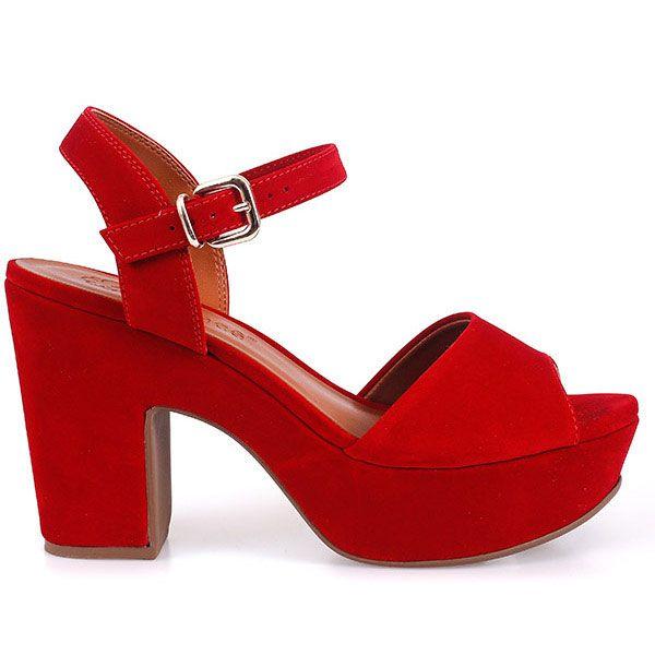 Sandália Bebecê Feminina Vermelha Salto Grosso 9cm 5123-826