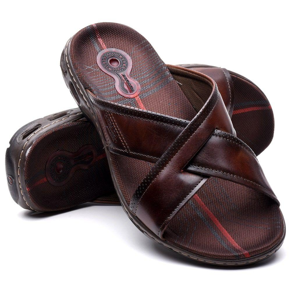 Sandália Chinelo Pegada Em Couro Confort 130643-03