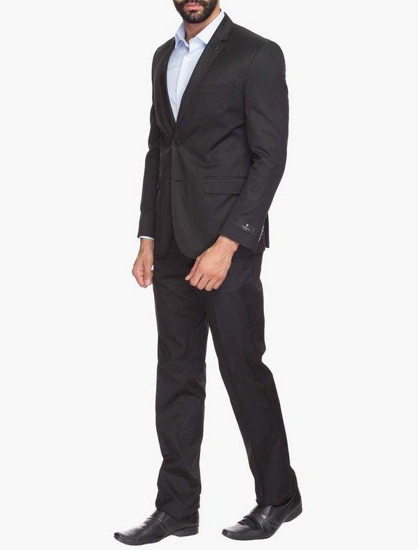Terno Wl Oxford Slim Preto Masculino Adulto Calça Blaser