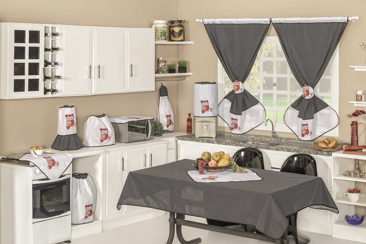 Jogo de Cozinha 10 Peças - Coruja Laranja