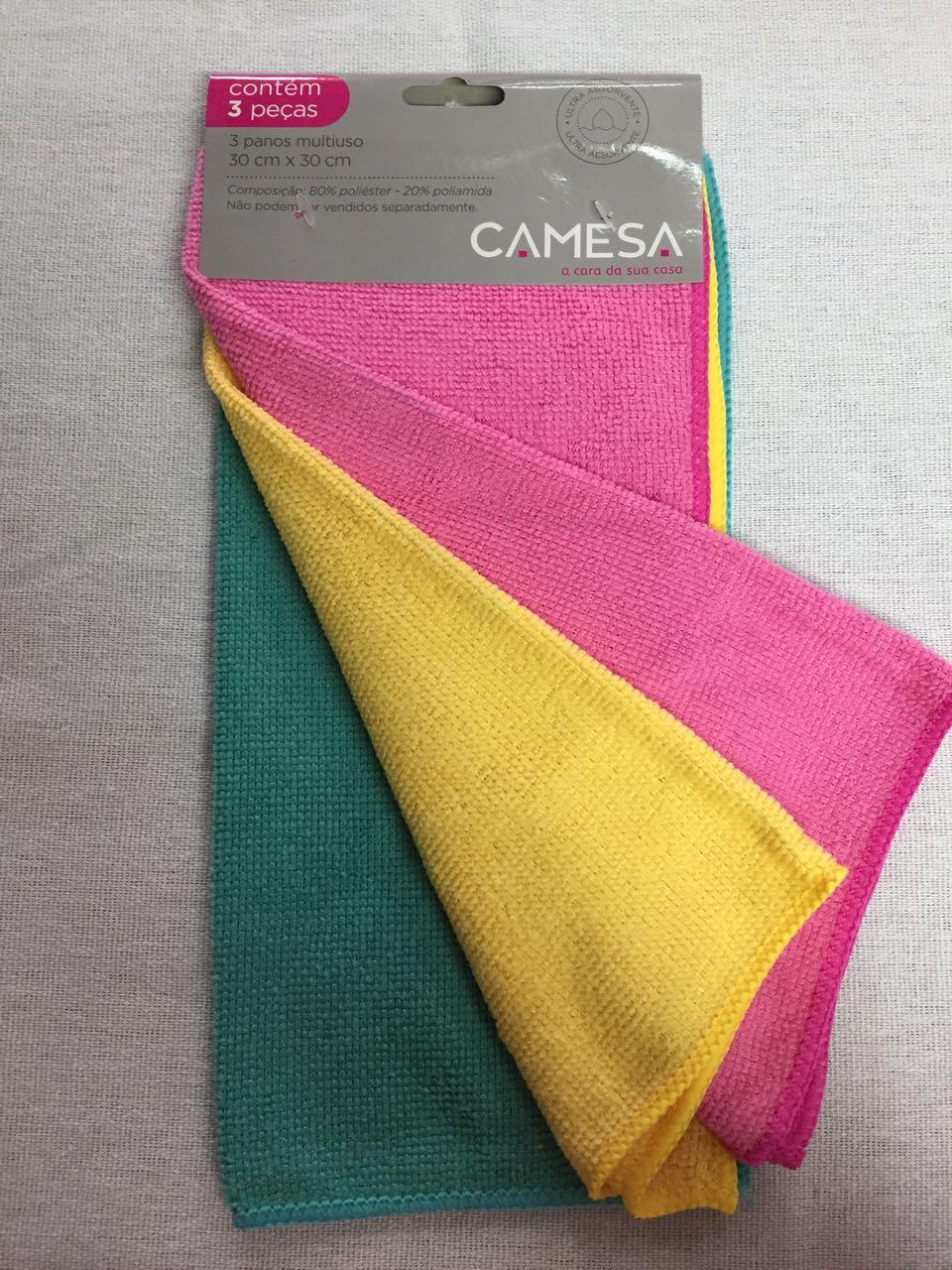 Panos Microfibra Camesa - Kit com 3 peças