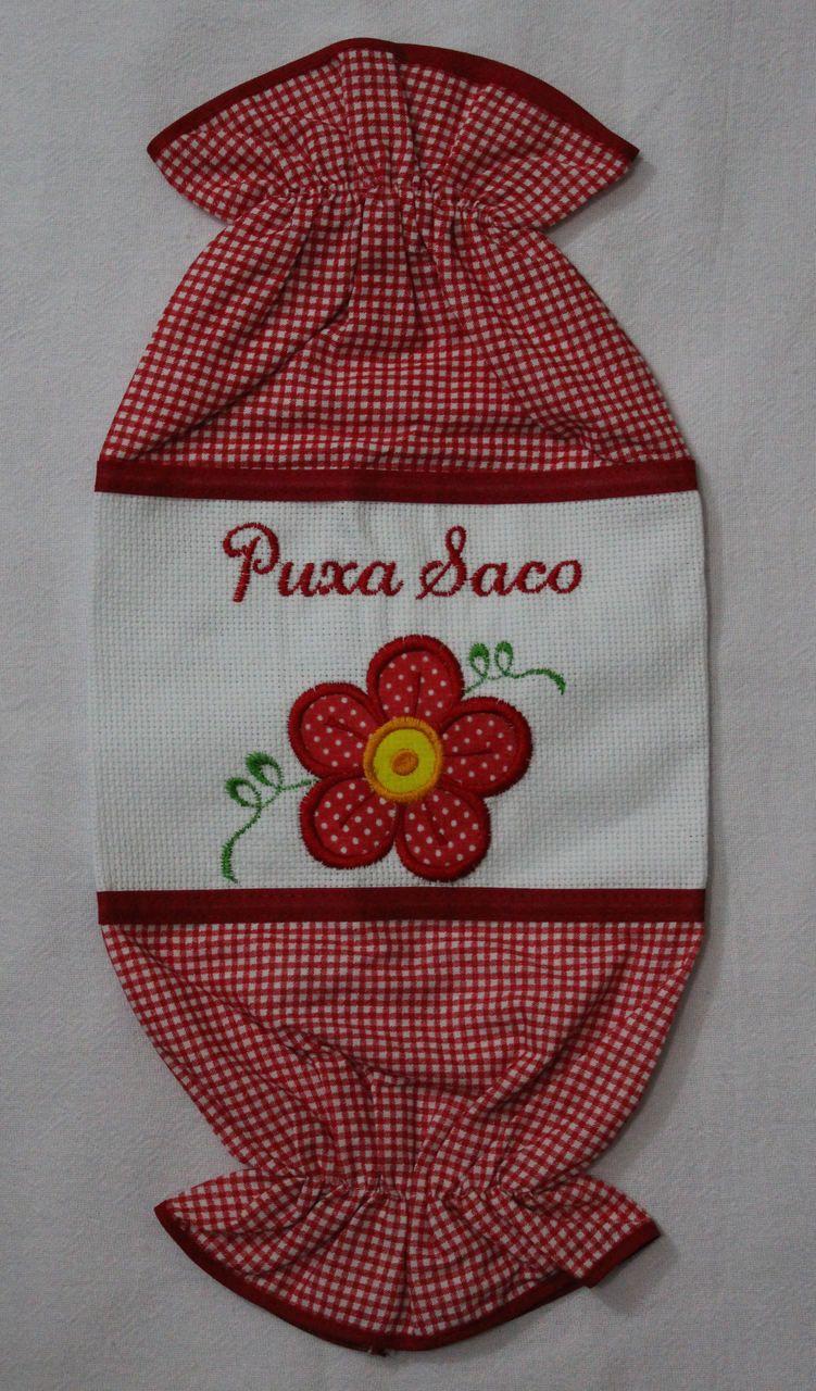 Puxa Saco Bordado Flor
